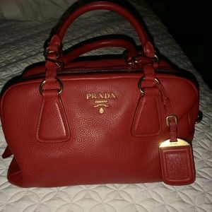 PRADA RED Vitello Daino  Handbag